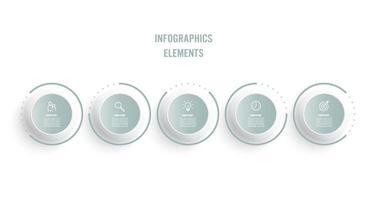 processo de linha fina de infográfico de negócios com design de modelo de círculos com ícones e 5 opções ou etapas. ilustração vetorial. vetor