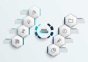 modelo de infográfico de vetor com etiqueta de papel 3d, círculos integrados. conceito de negócio com 8 opções. para conteúdo, diagrama, fluxograma, etapas, peças, infográficos de linha do tempo, fluxo de trabalho, gráfico.