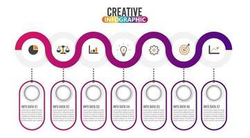 Ícones de marketing e vetor de design de infográfico de 7 partes podem ser usados para layout de fluxo de trabalho, diagrama, relatório, design de web. conceito de negócio com opções, etapas ou processos.