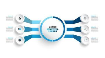 modelo de infográfico de vetor com etiqueta de papel 3d, círculos integrados. conceito de negócio com 6 opções. para conteúdo, diagrama, fluxograma, etapas, peças, infográficos de linha do tempo, fluxo de trabalho, gráfico.
