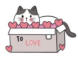 mão desenhar desenho animado bonito dia dos namorados, gato no vetor de caixa.