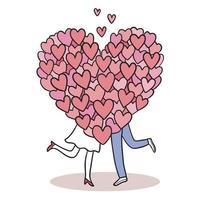 mão desenhar desenho animado bonito do dia dos namorados, casal e muitos vetores de corações.