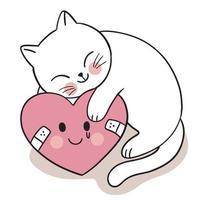mão desenhar caixa bonito dia dos namorados, gato e vetor de coração de tristeza.