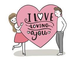 mão desenhar desenho animado bonito dia dos namorados, casal e vetor de grandes corações.