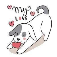 mão desenhar desenho animado bonito dia dos namorados, cão e vetor de coração.