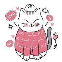 mão desenhar desenho animado bonito dia dos namorados, doodle gato e vetor de corações