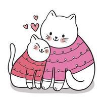 mão desenhar cartoon fofo dia dos namorados, mãe e bebê gato abraçando vetor.