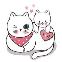 mão desenhar cartoon fofo dia dos namorados, mãe e bebê gato e vetor de coração.