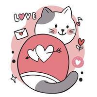 mão desenhar desenho bonito do dia dos namorados, doodle gato e vetor