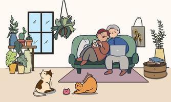 Casal apaixonado. homem e mulher na sala de estar, ilustração.