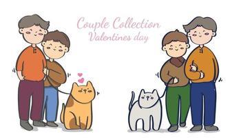coleção de ilustrações de casais homossexuais do dia dos namorados