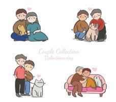 coleção de lgbt ou casais, pacote de parceiros românticos masculinos, femininos e transgêneros, isolado no fundo branco. ilustração vetorial no estilo cartoon plana.