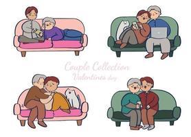 coleção de casal no sofá, casal romântico isolado no fundo branco. ilustração vetorial no estilo cartoon plana.