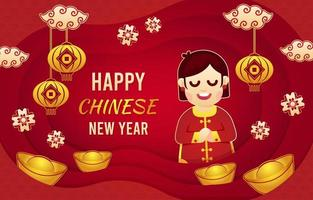 ano novo chinês cortado em papel dourado vetor