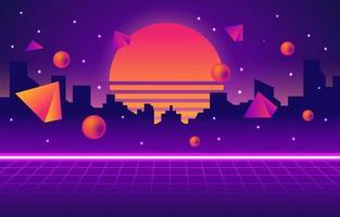 fundo retro futurismo neon city vetor