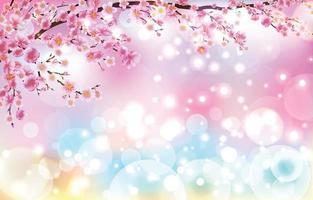 linda flor de cerejeira com conceito de fundo de luzes bokeh vetor