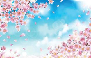 linda flor de cerejeira com conceito de fundo de pétalas vetor