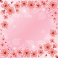 linda flor de cerejeira rosa gradiente vetor