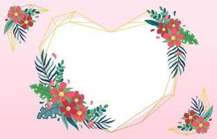 amor dourado e moldura floral vetor