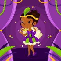 linda garota com fantasia celebra o festival de mardi gras vetor