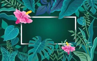 flor planta tropical com fundo verde vetor