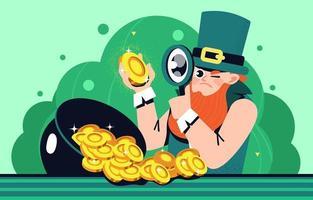 leprechaun, o especialista em moedas vetor