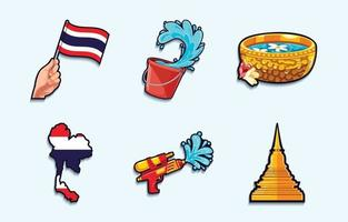 ícones do festival songkran vetor