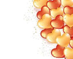 banner com balões em forma de coração vermelho e dourado