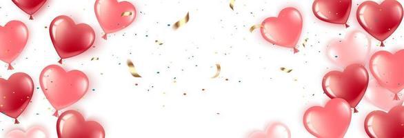 balões coração banner vetor