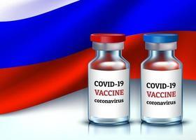 vacina de coronavírus covid-19. duas ampolas para vacinação, com tampa vermelha e azul contra fundo da bandeira tricolor. Ilustração 3D realista do vetor.