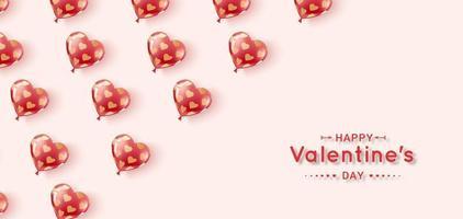 balões de gel voando nas cores vermelho e rosa com padrão de corações de ouro vetor