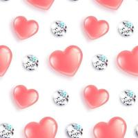 padrão de corações e diamantes vetor