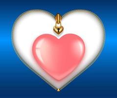 zíper em forma de coração com coração rosa vetor