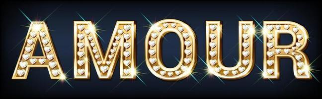 palavra dourada amour com diamantes brilhantes de coração vetor