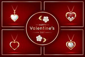 conjunto de banners com pingentes em forma de coração e diamantes