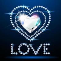 coração de diamante neon e texto de amor vetor