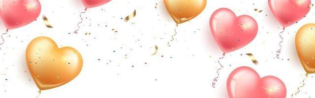 banner horizontal festivo com balões em forma de coração rosa e dourado, confete e serpentina. cartão feliz aniversário, dia da mulher, dia dos namorados, casamento. fundo branco isolado. vetor