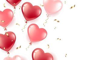 banner com balões de corações e confetes