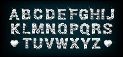 alfabeto de prata com diamantes em forma de coração. letras de a a z na ilustração vetorial de estilo realista. vetor