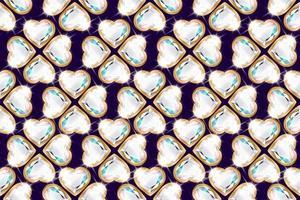 padrão de flor de diamante em forma de coração vetor