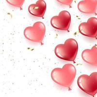 banner com balões de coração e confetes vetor