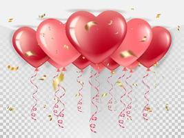 balões em forma de coração no teto