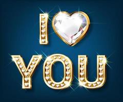cartão de dia dos namorados ouro eu te amo em letras douradas em forma de coração com diamantes cintilantes vetor