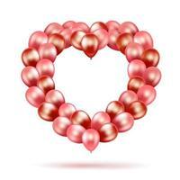 moldura de balão em forma de coração de vetor