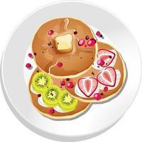 vista de cima do café da manhã em um prato isolado vetor