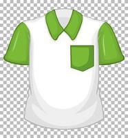 camisa branca em branco com mangas curtas verdes e bolso vetor