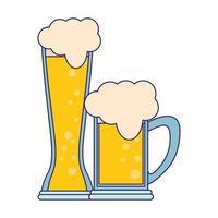 Copos de ícone de cerveja cartoon isolado linhas azuis vetor