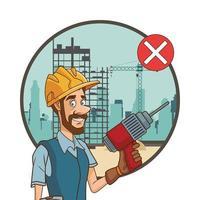 trabalhador da construção civil com broca não usando máscara facial para covid19 vetor