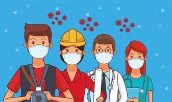 grupo de trabalhadores usando máscaras faciais para covid19 vetor