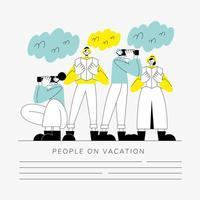 grupo de pessoas em modelo de banner de férias vetor